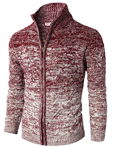 H2h men slim fit twisted knit zip up cardigan with various for Wine colored mens dress shirts