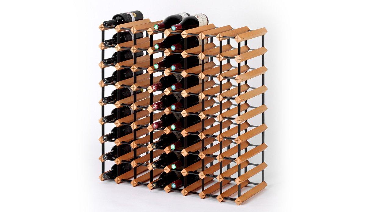 Bereits fertig montiertes Weinregal RAXI Classic für 72x Wein und/oder Sekt/Champagnerflaschen aus Buche mit pulverbeschichteten Metall  Gehört in jede Küche oder Wohnzimmer  Qualitativ hochwertige Verarbeitung  (LxHxB) 800 x 800 x 300 mm  Flaschenregal Getränkeregal  Überprüfung und Beschreibung
