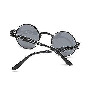72aaeab3609 Dollger Black Round John Lennon Sunglasses Retro Vintage Steampunk  Sunglasses for Men (Color  Black Lens Black ...