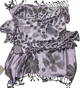 Lovarzi Womens Lilac Pashmina Scarf  Polka Dot Floral Scarves for Ladies and Girls