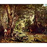Art Panel - Deer In The Woods By Courbet