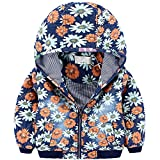 Meicent Kids Boys Girls Flower Printed Quilted Denim Hooded Jacket Coat with Zipper