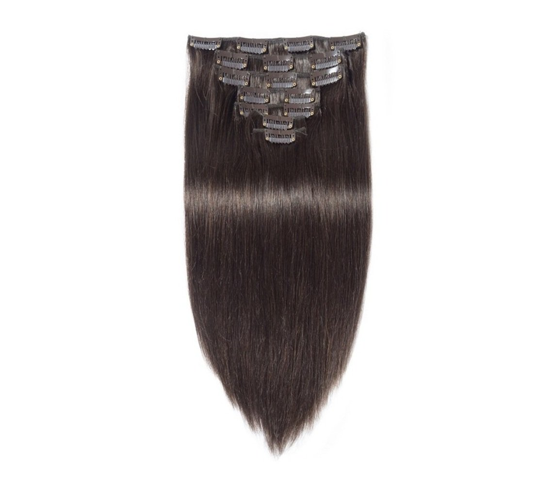Clip On Real Human Hair Extensions 7 pcs Instant Volume And Thickness Straight 50 grams (16 inch, DARK BROWN)