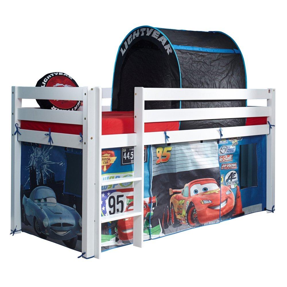 Relita Halbhohes Spielbett, Buche massiv weiß lackiert mit Disney Stoffset CARS 90X200 CM jetzt bestellen