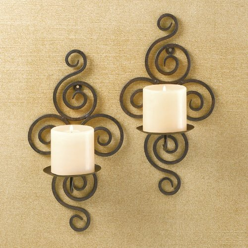 Swirl Wrought Iron Candle Sconce Pair front-527860