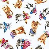 【FA4231-4985】【50cm単位】KANVAS(カンヴァス) リアルな猫柄の生地(ホワイト)