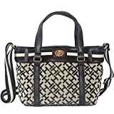 Tommy Hilfiger Canvas Crossbody Bag Small Tote Handbag Purse Black / White