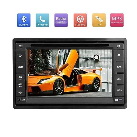 Pupug 6,2-pouces Double-DIN Lecteur DVD de voiture avec šŠcran tactile TFT DVD / VCD / CD / MP3 / MP4 / CD-R / USB / SD-MMC Card Slot / AM / FM / iPod Connecteur vidšŠo Radio stšŠršŠo et Bluetooth