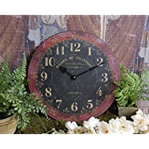 Shabby Paris Chic Wooden Clock Home Decor - Red