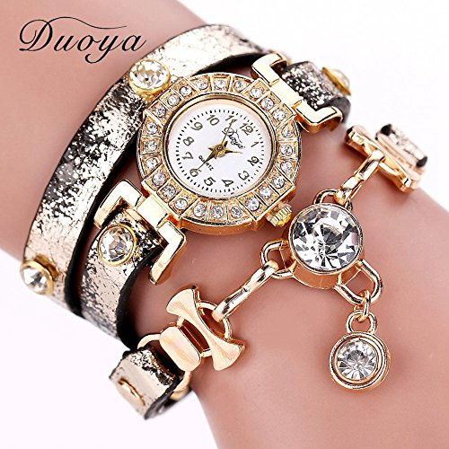 pigglyville (TM) 77 Fashion Nuovo braccialetto orologi da polso di lusso in pelle Dress Orologi da Donna Fashion Catena Lunga Casual Orologio da polso xr1068, Black