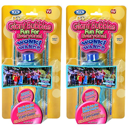 Set of 4 Giant Bubbles Maker Wonki Wands With 2 Big Bottles Solution Kids Party Favors Kit (Summer Bubble Maker compare prices)