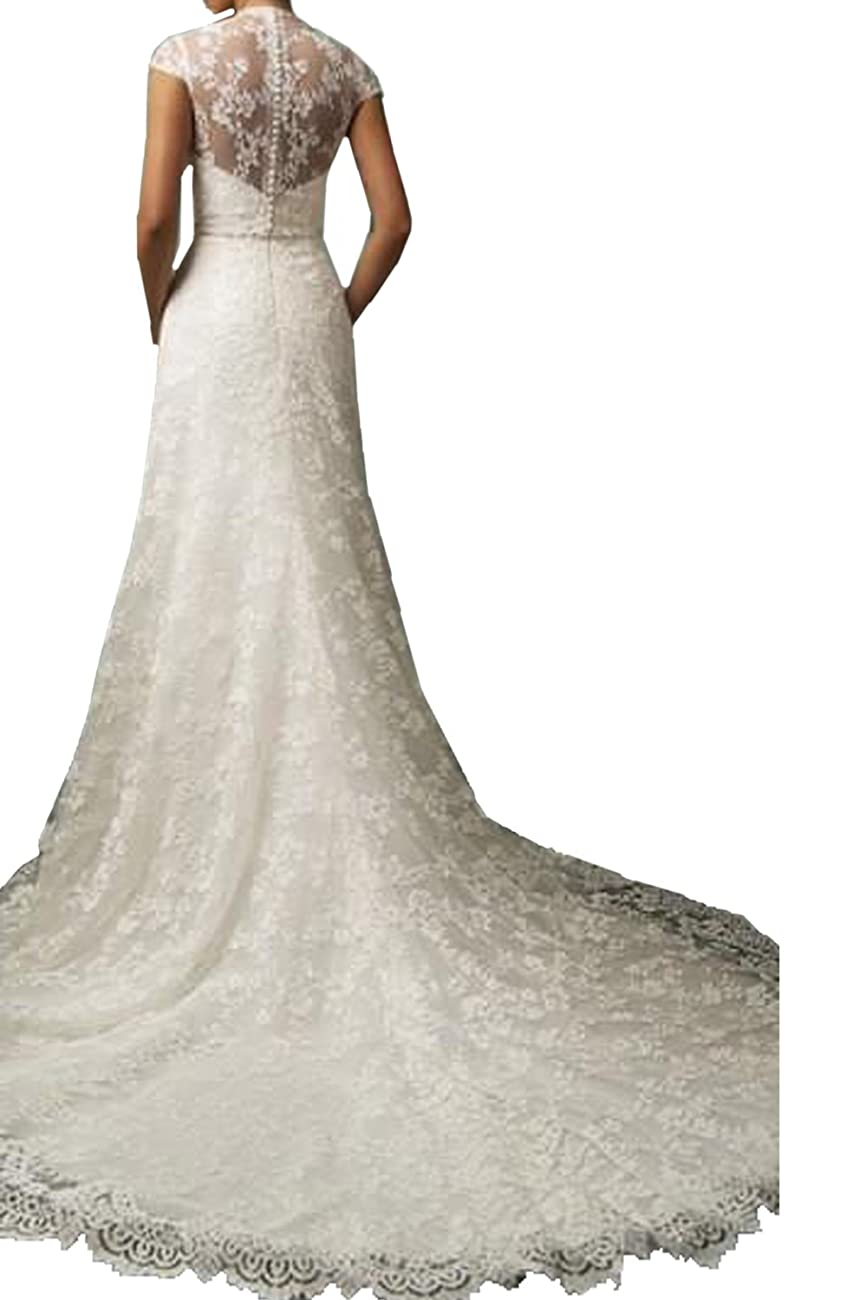 Vintage Lace Country Wedding Dresses Cap Sleeve Sheer Boho A line Bridal Gowns 1