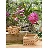 "4"" Natural Wooden Square Hanging Basket Outdoor Garden Planters (2-Pack)"