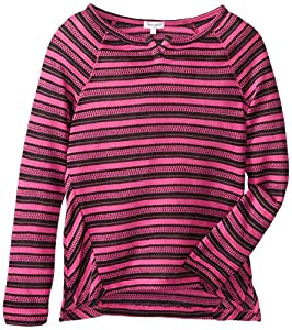 Splendid Big Girls' Loose Knit Striped Top, Hot Pink, 10