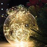 KAPATA クリスマスライト 飾り 電球色 3m30球 LEDジュエリーライト 電池式 ワイヤーライト