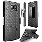 Note 5 case, Kaptron (TM) Galaxy Note 5 Hybrid Dual Layer Combo Armor Defender Protective Kickstand Holster case with Locking Belt Swivel Clip for Samsung Galaxy Note 5 (Black)