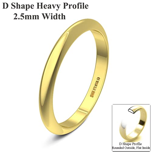 Xzara Jewellery - 9ct Yellow 2.5mm Extra H D Shape Hallmarked Ladies/Gents 2.1 Grams Wedding Ring Band