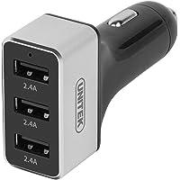 Unitek Premium 24W USB 3-Port (4.8A) Smart Aluminum Car Charger with Micro USB Cable (Black)