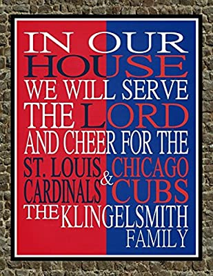 A House Divided St. Louis Cardinals & Chicago Cubs Personalized Family Name Christian Print - Perfect Gift, baseball sports wall art - multiple sizes