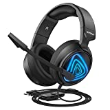 Mpow EG8 Gaming Headset for PC, PS4, Xbox One, Surround Sound Headset with Noise Cancelling Mic, On-Line LED Light/Volume/Mic Control, Memory Earmuffs, Gaming Headphone for FPS, PC, Console Gamer (Color: Black Blue)