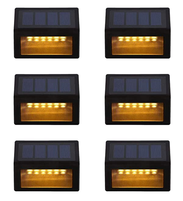 Solar Step Lights ,LED Solar Powered Step Lights Wireless Waterproof Outdoor Security Lamps Lighting for Steps Stairs Paths Patio Decks(Pack 6,Warm Yellow Light) (6 Pack) (Color: Warm Yellow Light, Tamaño: 6 pack)