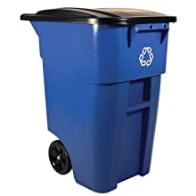 Rubbermaid Commercial FG9W2773BLUE Commercial Brute 50-Gallon Recycling Rollout Container with Lid, Blue