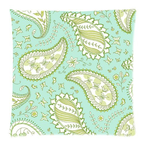 """Sky Blue Floral Butterfly Paisley Pattern Custom Zippered Pillow Cushion Case Throw Pillow Covers 18""""X18""""(Two Sides) Fabric Cotton And Polyester front-1032625"""