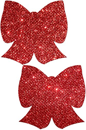 Glittering Red Bow Nipple Pasties By Pastease® O/S