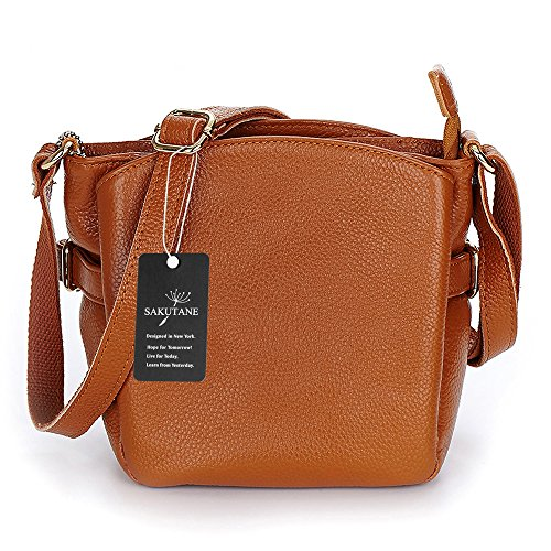 SAKUTANE donna in vera pelle con borsa da spalla, marrone HBBB0007
