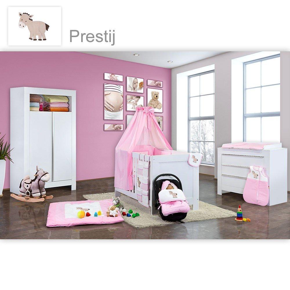 Babyzimmer Felix in weiss 21 tlg. mit 2 türigem Kl + Prestij in rosa