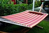 Merax Hammock Hardwood Spreader bars with Pillow Multicoloured Stripe, Outdoor Use (Red)