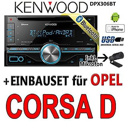Opel corsa d, noir-kenwood dPX306BT 2DIN bluetooth-uSB
