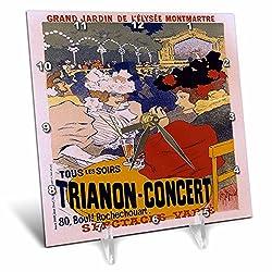 3dRose dc_149342_1 Vintage Grand Jardin Trianon Concert Advertising Poster Desk Clock, 6 x 6