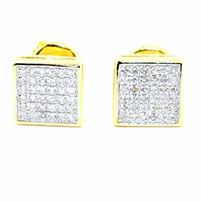Earrings-MidwestJewellery Men's Diamond Fashion Earrings In Gold-Tone Silver Squares 7.5Mm Wide Screw Back 1/5Cttw(0.2 Cttw)