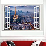 Boodecal Eiffel Tower in Paris Romantic Scenery 3D Fake Window Decorative Decals Interior Room Wall Stickers for Bedroom Living Room Playroom Decals 27*16 Inches