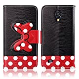 Fashion Youth Series Cute Design Black Red Bow Bowknot Polka Dot Wallet Flip Case Folio PU Leather Stand Cover with Card Slots for Samsung Galaxy S4 Mini i9190 + Free Lovely Gift