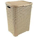Wäschekorb in Rattan Optik 60 Liter -atmungsaktiv- mit offen gestalteter