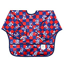 Bumkins Disney Baby Waterproof Sleeved Bib, Mickey Checkered, 6-24 Months by Disney