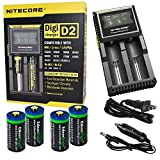 4 Pack EdisonBright EBR65 type 16340 RCR123A 3.7v rechargeable protected li-ion 650mAh batteries with Nitecore D2 digicharger home/car battery charger bundle