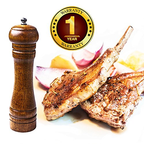 Culinerro - the Best Wooden Salt and Pepper mill, a solid kitchen pepper mill with a strong ceramic grinder - 8-inch wood pepper mill - Easily Refilled and Interchangeable for Long Term Use (Wooden Black Pepper Mill Grinder compare prices)