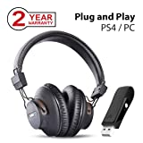 Avantree DG59 Wireless PS4 Gaming Headphones with Bluetooth USB Audio Transmitter Set for PC Nintendo Switch Desktop Computer, Plug n Play, Chat & Music Simultaneously, No Delay, 40hrs Play Time (Color: Black DG59 - BT Headphone PC Gaming Set)