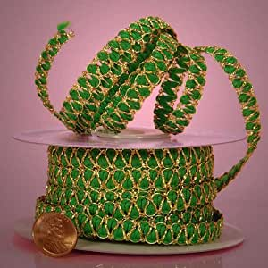 "Green Metallic Braided Cord, 3/8"" X 25Yd"