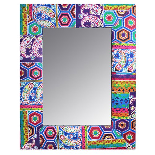 Uniquely Designed Wood And Fabric Framed Mirror By Entrada By Entrada