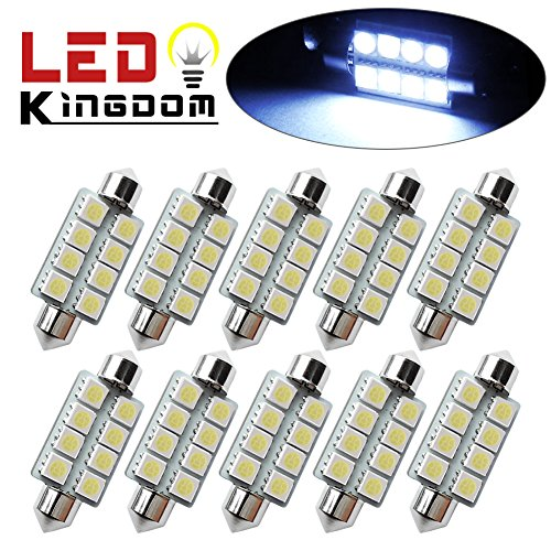 "LEDKINGDOMUS 10x 1.66"" 42mm 8-SMD Festoon 7000K Cool White LED Interior Map Dome Lights Bulbs 211-2 578"