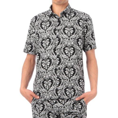 (ボイコット)BOYCOTT ダマスクプリントカジュアルシャツ ブラック(119) 04(LL)