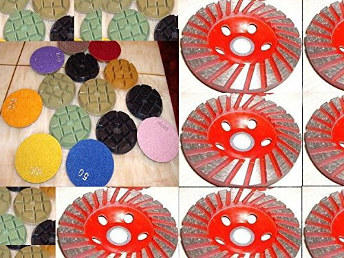"""4"""" Inch 24 Pieces (super thick: 10mm Thick) Typhoon Diamond Floor Counter top renew polishing pad 6 Pieces Coarse Grit Grinding Cup Wheel travertine granite marble concrete cement"""