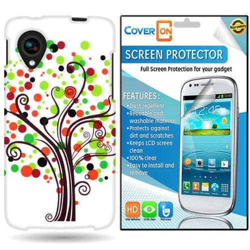 Coveron® Lg Google Nexus 5 Hard Plastic Slim Case Cover Bundle With Clear Anti-Glare Lcd Screen Protector - Green Brown Contempo Tree