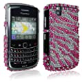 For Blackberry Bold Tour 9650 9630 Pink White Zebra Design Diamond Hard Back Case Cover