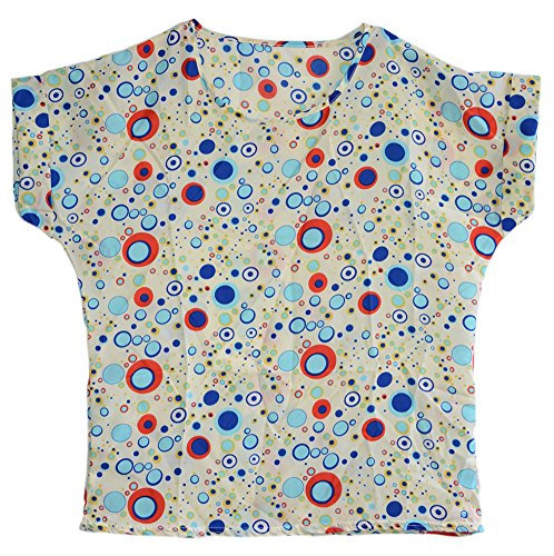 Am Clothes Womens Chiffon Print Short Sleeve Top T-Shirt Blouses One Size Blue front-478593