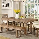 Coaster Furniture 105541 Elmwood Dining Table Weathered Wood Finish